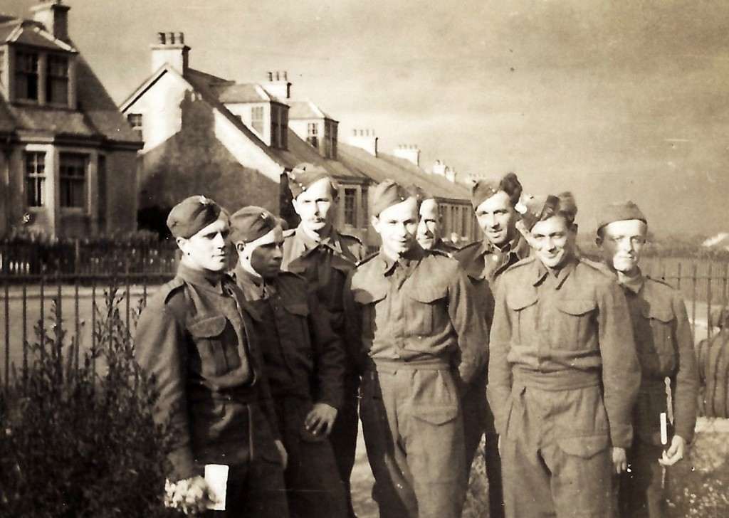 Jan Tomasik with a group of Polish soldiers in Douglas, Lanarkshire in October 1940
