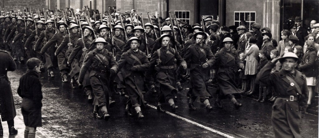 March past of men of the 1st Armoured Division in Newmarket Suffolk. Jan Tomasik can be seen.