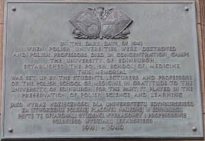 Polish Medical School plaque, Edinburgh University